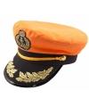 Oranje kapitein pet met zwarte klep