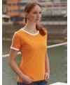 Oranje met wit dames t shirt