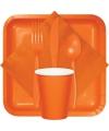Oranje plastic bestek 24 delig
