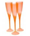 Oranje plastic champagne glazen 5 stuks