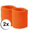 Oranje pols zweetbandjes 2 stuks