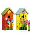 Oranje vogelhuisje met vlinder 30 cm