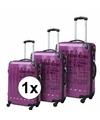 Paarse reiskoffer met tekst 26 inch