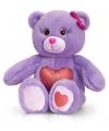 Paarse zittende beer met rood hart 25cm