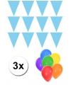 Pakket 3x vlaggenlijn xl lichtblauw incl gratis ballonnen