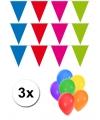 Pakket 3x vlaggenlijn xl meerkleurig incl gratis ballonnen