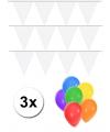 Pakket 3x vlaggenlijn xl wit incl gratis ballonnen