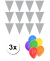 Pakket 3x vlaggenlijn xl zilver incl gratis ballonnen