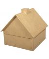 Papier mache doosje huis 16 cm