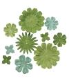 Papieren knutsel bloemen groen