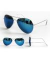 Pilotenbril met blauwe spiegel glazen