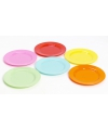Plastic gekleurde ontbijt bordjes 6 stuks