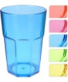 Plastic glas blauw 12 cm