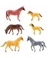 Plastic speelgoed paarden 6 stuks