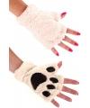 Pluche dierenpoot handschoenen ecru