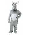Pluche ezel kostuum grijs