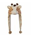 Pluche giraffe muts met flapjes 18 cm