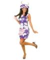 Pluche jurk met koe print lila