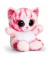 Pluche kat knuffel roze 15 cm