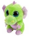 Pluche knuffel draakje groen paars 13 cm