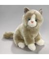 Pluche knuffel grijs witte kat 23 cm