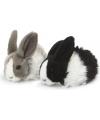 Pluche knuffel konijn grijs wit 18 cm