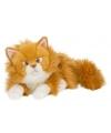 Pluche knuffel liggende rode kat langharig 25 cm