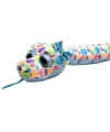 Pluche knuffel slang blauw gekleurde stippen 137 cm