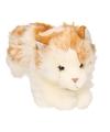 Pluche knuffel wit bruin gevlekte kat 26 cm