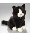 Pluche knuffel zwart witte kat 23 cm