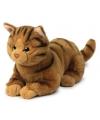 Pluche liggende bruine kat knuffel 20 cm