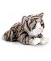 Pluche liggende grijze kat knuffel 35 cm