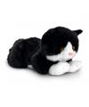 Pluche liggende zwarte kat knuffel 35 cm
