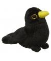Pluche merel knuffel vogel 10 cm