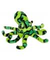 Pluche octopus knuffel groen zwart 25 cm