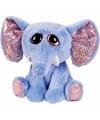 Pluche olifant knuffel blauw 15 cm