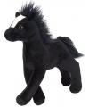 Pluche paard zwart 20 cm