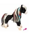 Pluche paarden knuffel zwart wit 30 cm