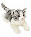 Pluche poes kat knuffel liggend grijs wit 33 cm