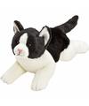 Pluche poes kat knuffel liggend zwart wit 33 cm