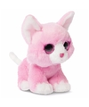 Pluche roze katten knuffel 18 cm