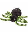Pluche spin knuffel zwart groen 14 cm
