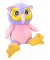 Pluche uil knuffel 18 cm roze paars