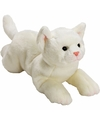 Pluche witte poes kat knuffel liggend 33 cm