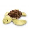 Pluche zeeschildpad knuffel groen bruin liggend 35cm
