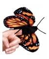 Pluche zwart oranje vlinder vingerpop 22 cm