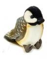 Pluche zwarte mees vogel knuffel 14 cm