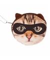 Portemonnee bruine kat poes 10 x 11 cm