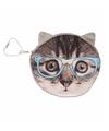Portemonnee grijze kat poes blauwe bril 10 x 11 cm