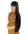 Pruik lang zwart haar met pony